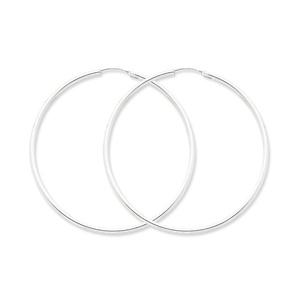 .925 Sterling Silver 61 MM Classic Endless Hoop Earrings