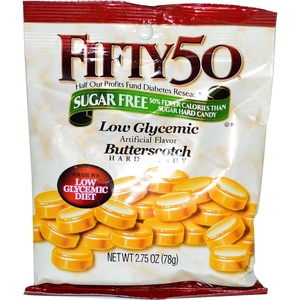 Fifty 50, Butterscotch Hard Candy, Low Glycemic, Sugar Free, 2.75 oz (78 g) Fifty 50, Butterscotch Hard Candy, Low Glycemic, Sugar Free, 2.75 oz (78 g) - 2pcs