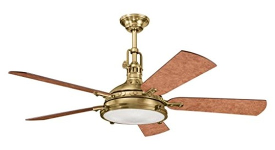 Burnished Antique Brass 56In. Indoor Ceiling Fan With 5 Blades - Includes Cool-Touch Remote Light Kit And 12In. Downrod
