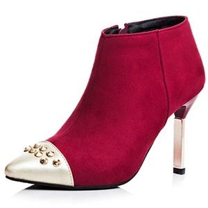 Fashion Heel Women's Nubuck Stiletto Heel Pointed Toe Rivets Ankle Bootie (10, black)