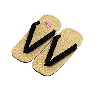 Men's Wicker Work Setta Japanese Soled Sandals with Black Strap 10.6inches