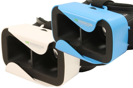 VR Shinecon 3.0 Mini Virtual Reality Headset, Use with Smartphones iOS & Android (2 Pack White & Blue)