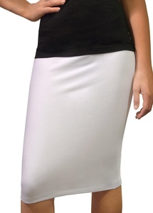 Kosher Casual Women's Modest Knee-Length Fitted XL White Pencil Skirt in Cotton Lycra