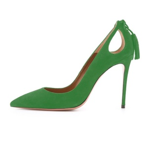 Juoar Women's Slip-on Suede Tassel Stiletto Pointed Toe High Heel Pumps Cut Out Party Wedding Dress Shoes Suede Green US5.5