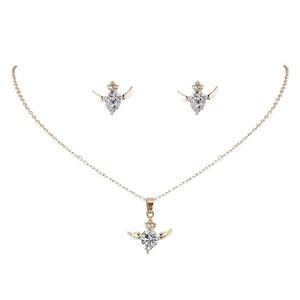QIYUN.Z Women's Fashion Jewelry Set Pendant Necklace Earring Alloy