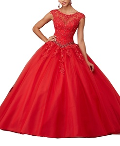 Meledy Women's Beaded New Girl's Boat Neck Lace Appliques Sweet 16 Floor Length Ball Gowns Quinceanera Dress Red US 4
