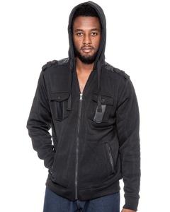 True Rock Men's Full Zip Hooded Jacket-Black-2XL