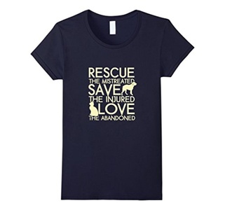 Women's RESCUE SAVE LOVE - Dog Rescue Shirt XL Navy