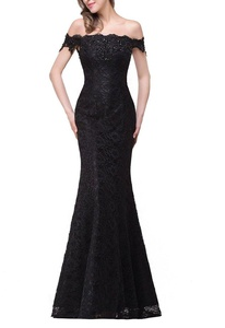 JudyBridal Women Off Shoulder Lace Long Prom Dress Maxi Wedding Gowns US22W Black
