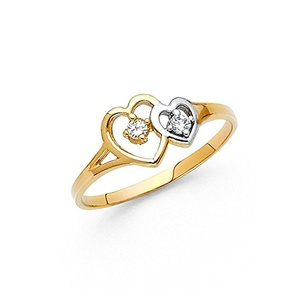 Two Tone 14K Solid Yellow Gold White Round Cut Cubic Zirconia Hollow Hearts Ring, Size 6.5