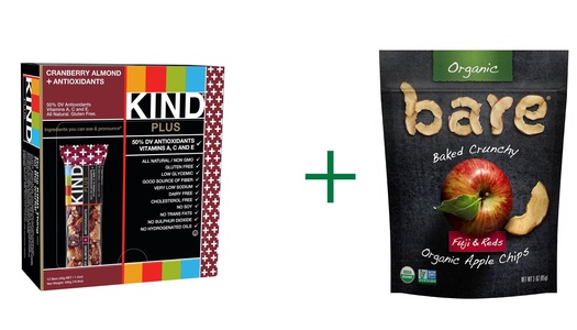 Kind Plus Bars Cranberry Almond + Antioxidants with Macadamia Nuts -- 12 Bars, ( 2 PACK ), Bare Organic Baked Crunchy Apple Chips Gluten Free Fuji & Reds -- 3 oz