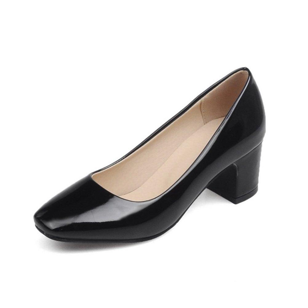 VASHOP Women's Squared Toe Mid Chunky Block Heel Patent-leather Pumps Court Shoes,Black/11