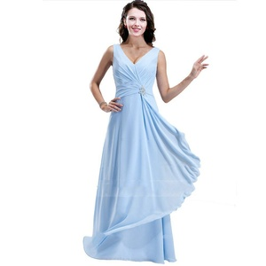 KG DRESS Pleated Crystal Elegant Evening Dress Long Chiffon Party Prom Gown Light Blue US16