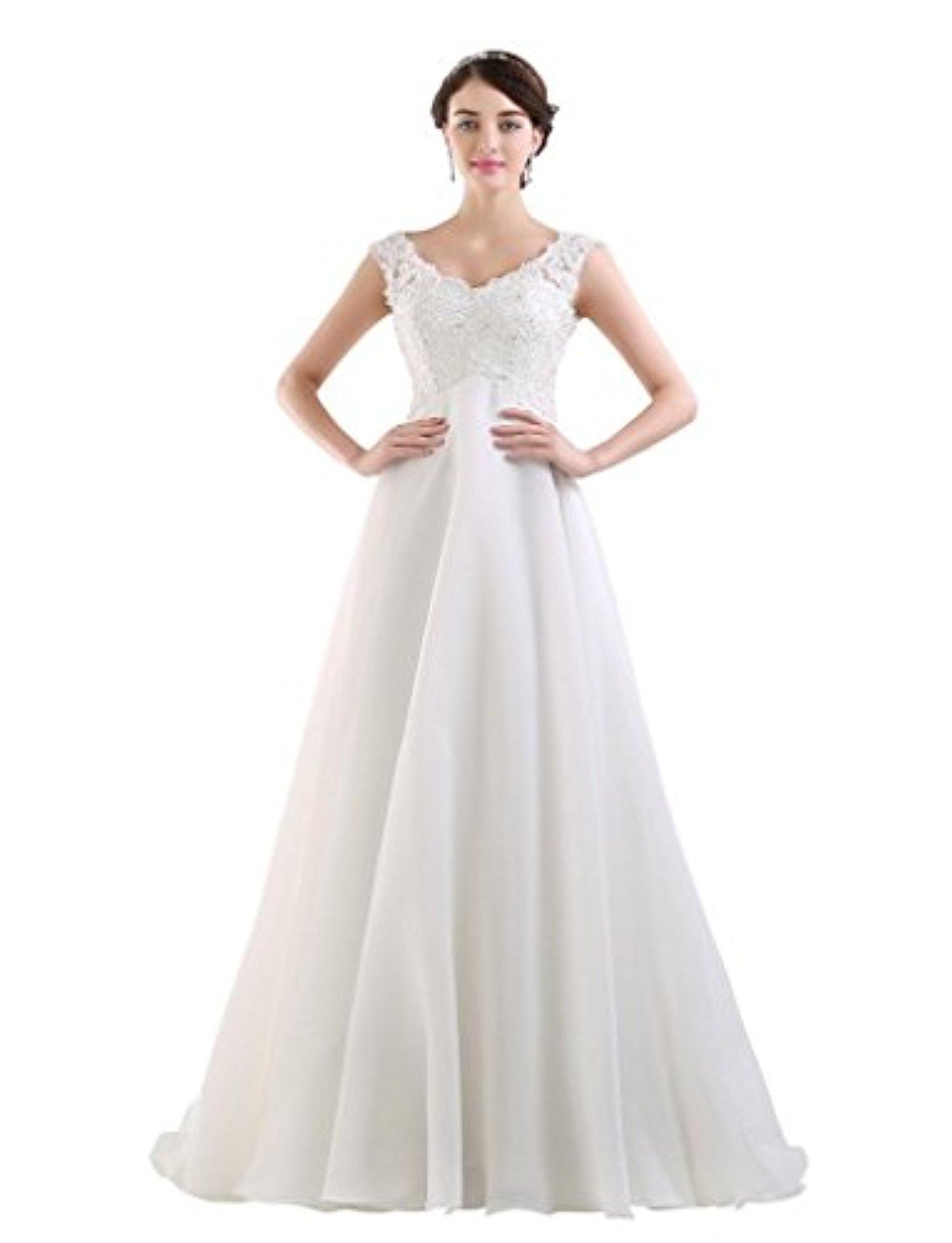 JoyVany Wedding Dress with Detachable Back Cowl 2016 Beach Chiffon Wedidng Gown White Size 6