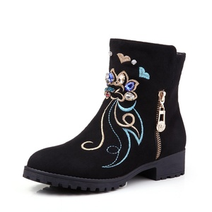 yBeauty Women's Zipper Ankle Boots Block Low Heel Rhinestone Embroidered Booties Round Toe Shoes Suede Black US8.5