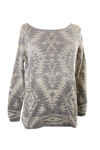 Denim Supply Cream Multi Relaxed Geometric Sweater S