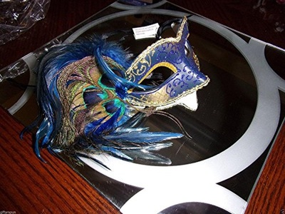 Medieval gold & blue masquerade face mask costume Sparkle & peacock feathers