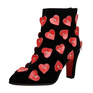 ENMAYER Women's Nubuck High Heel Ankle Boots