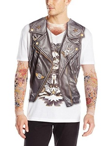 Faux Real Tees Men's Long Bikertattoo with Mesh Sleeves (UK 38 - 40) by Faux Real Tees