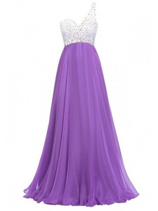 Winnie Bride Stylish Beaded Prom Dress One Shoulder Long Evening Gown for Women-8-Blue Violet