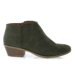 #MugLOliveSuede Women's Western Ankle Bootie w Low Chunky Block Stacked Heel