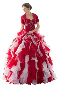 MILANO BRIDE 2016 Quinceanera Dress Jacket Short Sleeves Ruffles Ball Gown Organza-6-Red&White