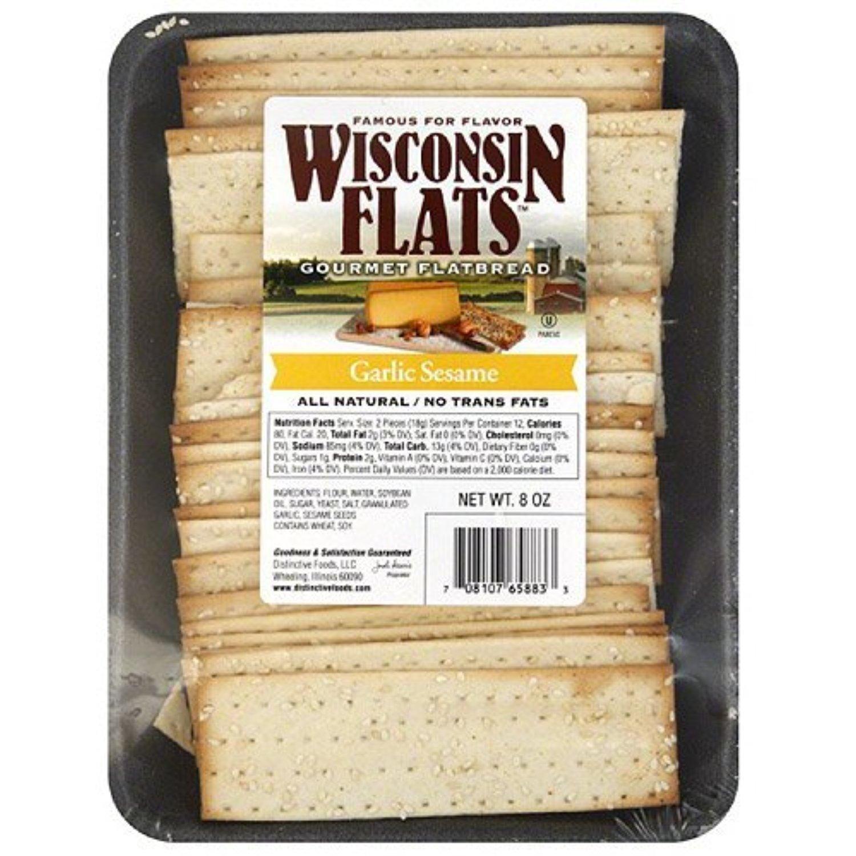 Wisconsin Flats Flatbread, Garlic Sesame, 8 Oz (Pack of 10) by Wisconsin Flats