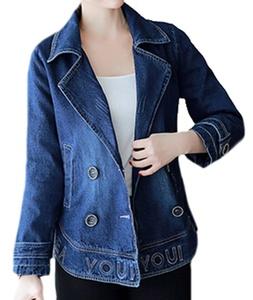 Cruiize Womens Casual Short Spring&Fall Lapel Outer Denim Jackets Denim Blue Large