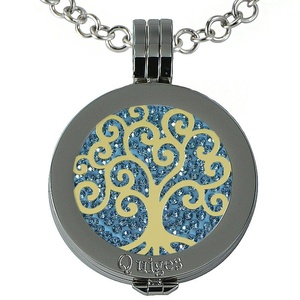 Quiges - Women Stainless Steel Necklace with 25mm Coin Locket and Coin Tree of Life/Flower of Life #1368