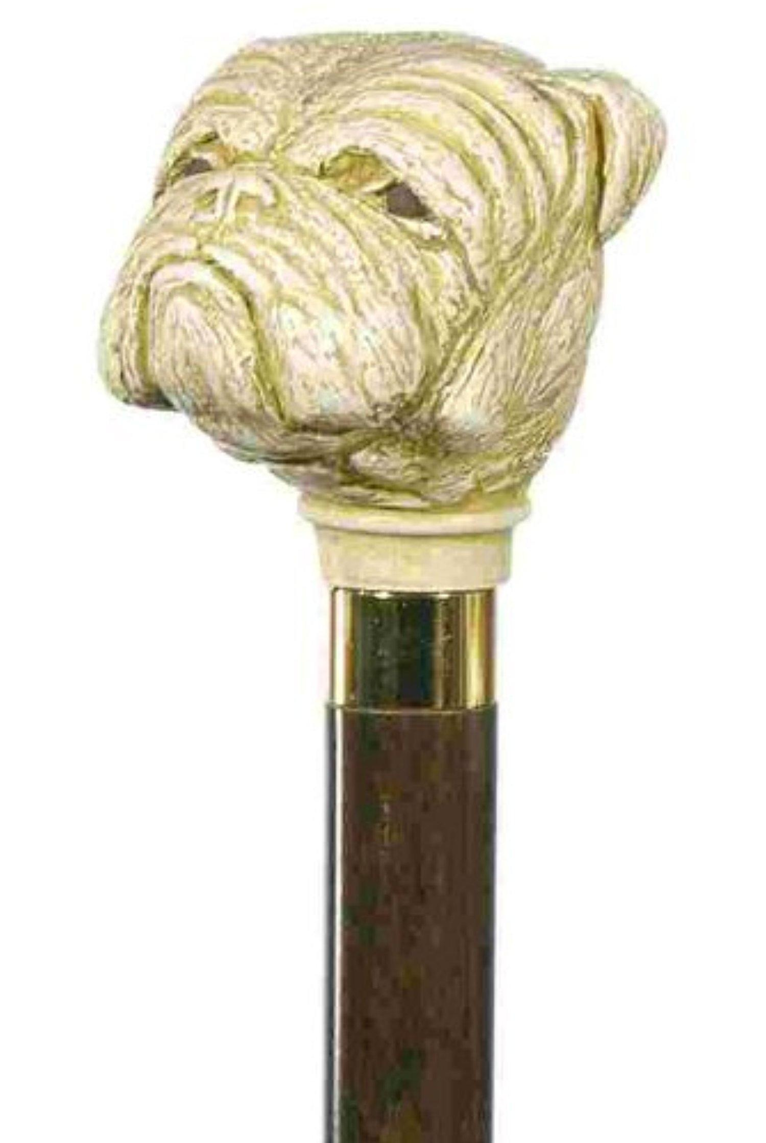 Bulldog Headed Walking Stick Cane by Classic Canes