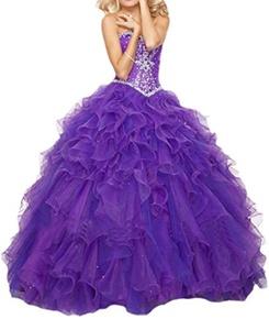 YinWen Women's Sweetheart Beaded Strapless Quinceanera Dress Formal Prom Gown Size 2 US Purple