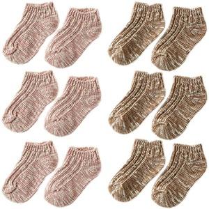 6 Pairs October Elf Cotton Thread Short Non-Skid Walking Socks for Unisex Baby Kids (M, B)