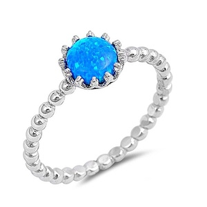 Crown Beaded Wedding Engagement Anniversary Band Ring Rounds Lab Created Opal Blue 925 Sterling Silver