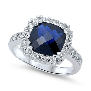 Halo Dazzling Wedding Engagement Ring Cushion Cut Simulated Blue Sapphire Round CZ 925 Sterling Silver