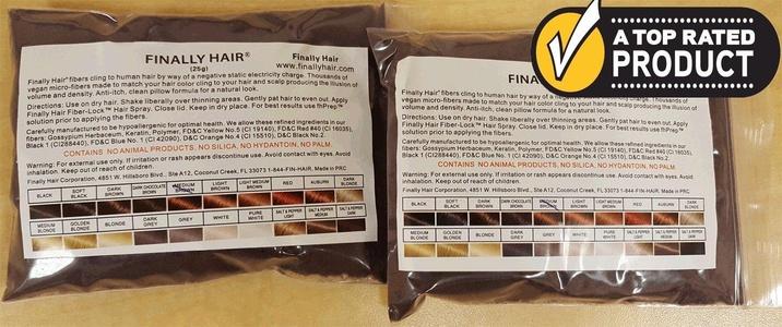 Medium Brown Keratin Hair Building Fibers Refill Hair Loss Concealer Fiber 2pak of 25g (2x25) = 50g 50 G Grams Gr 50gr (use Dark Chocolate Brown for darker) (Medium Brown using Top Secret Bottle)