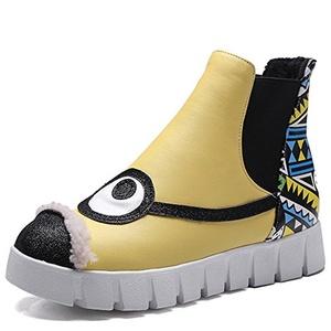 Fashion Heel Women's Flat Heel Round Toe Flower Print Platform Cute Ankle Bootie (9, white)