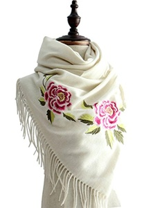 J-SUN-7 Womens Embroidery Wool Scarf Pashmina Shawl(White, 23*70(inch))