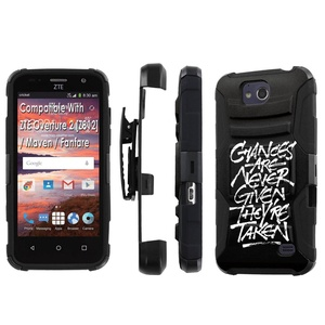 ZTE [Overture 2] [Maven] [Fanfare] Armor Case [SlickCandy] [Black/Black] Heavy Duty Defender [Holster] [Kick Stand] - [Chances] for ZTE [Overture 2 Z812] [Maven] [Fanfare]