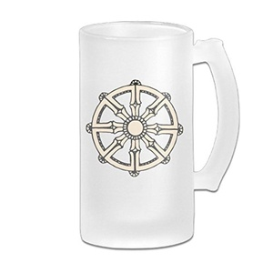 Dharma Wheel Frosted Glass Beer Stein 16oz Fashionable