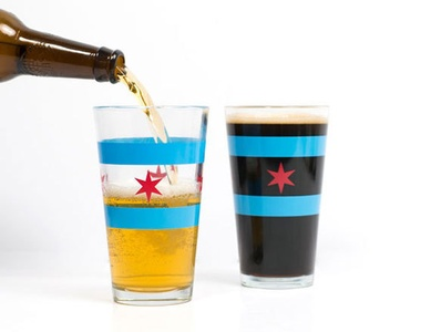 Chicago Flag Pint Transparent Glass