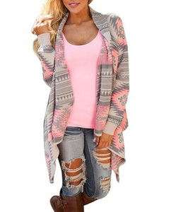 TAORE Women's Shawl Collar Thick Geometric Printed Open Front Cardigan (S, Pink)