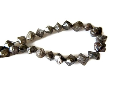 6 Inch Strand, Natural Brown Diamond Crystal Octa Beads, 6mm-4mm Conflict Free Rough Raw Uncut Diamond