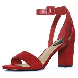 Allegra K Women PU Panel Chunky Heel Ankle Strap Sandals (Size US 7) Deep Red