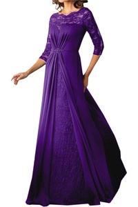 MILANO BRIDE Delicate Mother Of Bride Dress Illusion-Neck Sleeves A-line Lace-2-Purple