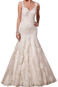 Vienna Bride Double Shoulder V-Neck Mermaid Satin Lace Wedding Dress for Bride-8-Ivory