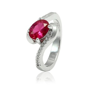 Bypass Wedding Engagement Bridal Ring Oval Cut Simulated Red Ruby Round CZ 925 Sterling Silver