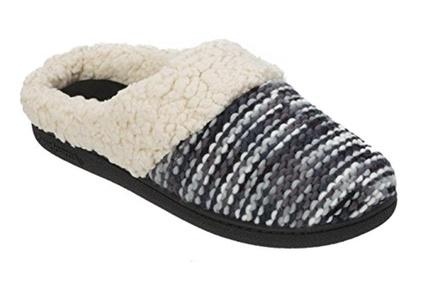 Dearfoams Women's Knit Dye Clog Memory Foam Slipper (Large / 9-10 B(M) US, Black)