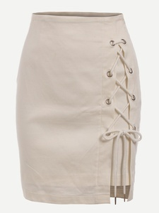 Summer Eyelet Lace-Up Skirt