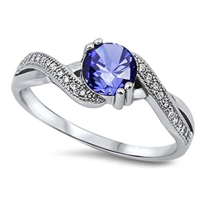 Accent Infinity Crisscross Shank Wedding Ring Round Simulated Tanzanite Round CZ 925 Sterling Silver