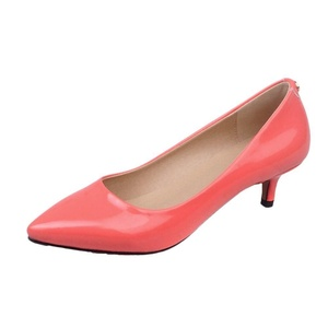 Show Shine Women's Chic Mid Heel Pointed Toe Pumps Dress Shoes (6.5, watermelon red)